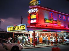 The Famous Geno's Philly Cheese steaks, Philidelphia best philly cheesesteak I've ever had!! but when we went there were police and a helicopter with a spotlight looking for a man on the loose... so just go for the cheesesteak and get out of there lol