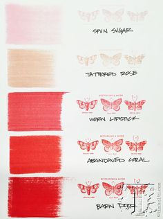 Tim Holtz / Ranger distress inks - REDS comparison: Spin Sugar, Tatered Rose, Worn Lipstick, Abandoned Coral, and Barn Door Encre Distress Ink, Tim Holtz Distress Ink, Distress Markers, Distress Oxide Ink, Druckfarben Im Distress-look, Distress Ink Techniques, Zealand Tattoo, Tim Holtz Stamps, Ranger Ink