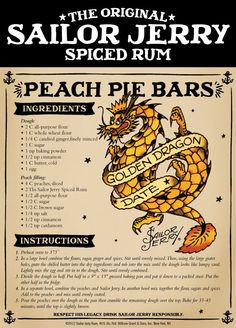 The Original Sailor Jerry Spiced Rum Peach Pie Bars Rum Recipes, Retro Recipes, Vintage Recipes, Cooking Recipes, Candy Recipes, Sailor Jerry Rum, Cookie Desserts, Just Desserts, Sweets