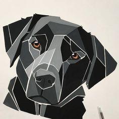 No photo description available. Dog Quilts, Barn Quilts, Geometric Drawing, Geometric Art, Art Pop, Polygon Art, Dog Crafts, Hanging Wall Art, Dog Art