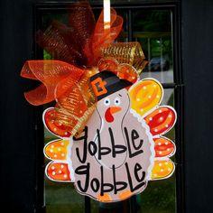 Door Hanger: Thanksgiving, Turkey, Door Decor, Thanksgiving Decor, Door Decoration on Etsy, $45.00