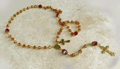 Austrian Crystal Red & Gold US Marine Corps Colors Gold P Miraculous Rosary