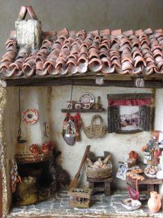 cocina  tipica rústica en miniatura  cartón tratado  barro,porcelana fria y,materiales reciclables manual