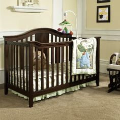 Baby Relax Lewis 4-in-1 Fixed-Side Convertible Crib w/Mattress, Espresso