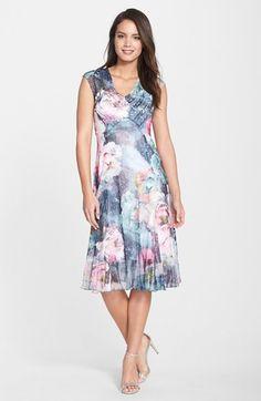 Komarov Print Chiffon & Charmeuse A-Line Dress