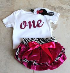 First Birthday outfit  - 1st Birthday photo shoot prop - zebra print with hot pink bloomers, ONE glitter onesie and headband by TulleVogue on Etsy