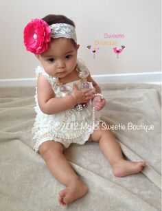 Ivory Vintage Lace Petti Romper - Baby Girl outfit- Toddler outfit- photo prop- baptism outfit, flower girl, classic baby