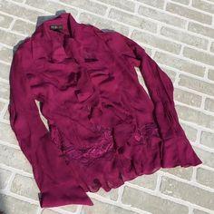Magenta EC Lace & Ruffles Blouse Magenta EC Lace & Ruffles Blouse Style & Co Tops Blouses