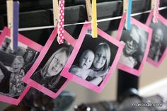 Clothespin picture banner with pictures from the last year