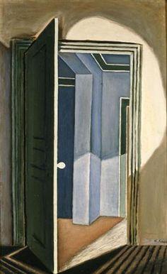 The open door - Nikos Hadjikyriakos-Ghikas, 1927 Street Art, Art Database, Door Opener, Cubism, Doors, Painting, Artwork, Home Decor, Etchings