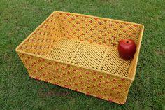 Macrame, Basket ,Big size, Weaving basket,Rectangular shape,Handmade, Gold and Red velvet colors,Gift by CraftingMode on Etsy