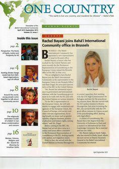 Rachel Bayani - nominata rappresentante della Baha'i International Comunity - Bruxelles