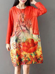 Casual Pocket Printed Pocket Elastic Dress