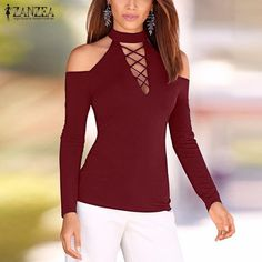 Autumn 2016 Women Blouses Sexy Lace Up Off Shoulder Blusas Long Sleeve Shirts Hollow Out Casual Slim Solid Tops Plus Size M-XL