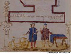 Ricc. 2669, FILIPPO CALANDRI, Trattato di aritmetica Sec. XV, fine; Firenze; bottega di Boccardino il vecchio.  Due barattano lana a panno, c. 66v