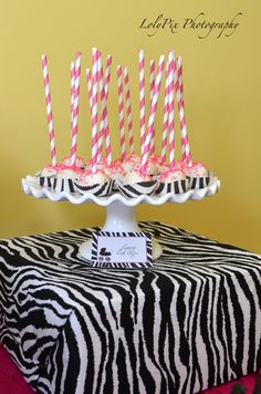 Cake pops at a Hot Pink Zebra Baby Shower #babyshower #zebra