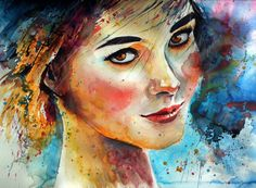 girl.jpg (Painting),  70x50x0.1 cm by KAB Original watercolour painting on high quality watercolour paper. I love landscapes, still life, nature and wildlife, lights and shadows, colorful sight. These things inspired me and appeared many of my artworks.