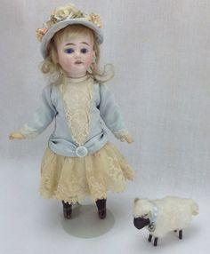 """Antique Original Am 1894 German Dep Bisque Doll 11"""" Mignonette Amazing Costume"""