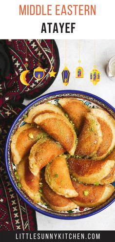 Atayef or Qatayef are Middle Eastern pancakes filled with white cheese or nuts then soaked in a rose sugary syrup. They are only made and served during the Holy month of Ramadan. Here's a detailed recipe to make Atayef from scratch. Middle East Food, Middle Eastern Desserts, Middle Eastern Dishes, Arabic Dessert, Arabic Sweets, Arabic Food, Lebanese Desserts, Egyptian Food, Snacks