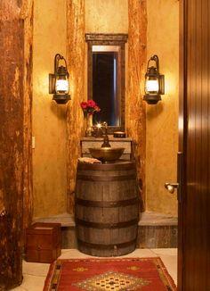 Wine Barrel Furniture Ideas You Can DIY Or BUY PHOTOS - Wine barrel bathroom vanity