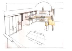 Kitchen design for an American painter in Florence, Italy Florence Italy, Kitchen Design, American, Projects, Furniture, Home Decor, Log Projects, Blue Prints, Decoration Home