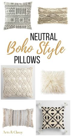 You can quickly and easily add a bit of Bohemian style without breaking your home decorating budget. I've curated cheap and chic pillows. Neutral Boho pillows for every space in your home with floor pillows, sofa pillows, and bedroom pillows galore! Bohemian Bedding, Boho Pillows, Diy Pillows, Bohemian Decor, Floor Pillows, Bohemian Style, Modern Bohemian, Accent Pillows, Pillows For Sofa