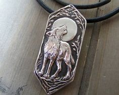 Moonsong, Personalized Fine Silver Wolf Pendant, Full Moon, Handmade in Recycled Silver From Original Carving, by SilverWishes Wolf Jewelry, Animal Jewelry, Cute Jewelry, Jewelry Art, Jewelry Design, Wolf Necklace, Silver Horse, Gothic Jewelry, Wooden Jewelry