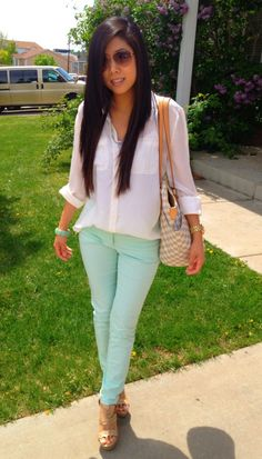 Mint jeans cream blouse