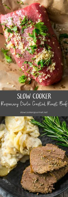 Bring back family dinner time with this simple to prepare Rosemary Garlic Crusted Roast Beef made in your slow cooker.