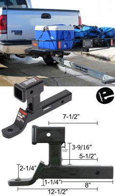 This multipurpose Ball Mount with 2 Receiver for Bike Racks and Cargo Carriers allows you to tow your trailer while still carrying your hitch accessory like a bike rack or cargo basket. Trailer Plans, Trailer Build, Used Camping Trailers, Camper Trailers, Wrangler Accessories, Car Accessories, Truck Camper, Truck Bed, Truck Accesories