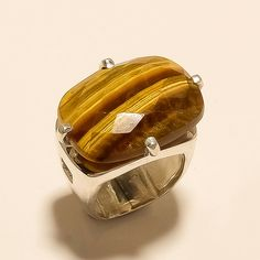 Your place to buy and sell all things handmade Sterling Silver Jewelry, 925 Silver, Silver Rings, Jewelry Gifts, Handmade Jewelry, Yellow Rings, Tigers Eye Gemstone, Weeding, Fathers
