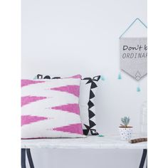 Staggered Chevron Cushion 45 Cm (61 CAD) ❤ liked on Polyvore featuring home, home decor, throw pillows, zig zag throw pillows, spring throw pillows, chevron home decor, chevron throw pillows and holly's house