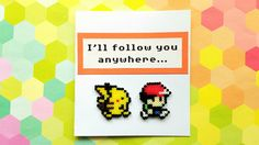 3D Pokemon Greeting Card 8 Bit Pikachu Ash Geeky by 8BitEarrings