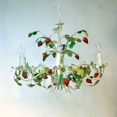 Tole strawberry chandelier from Etsy vendor [sold]