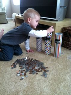 Kids & Money -  this simple activity allows the child to learn a life skill, make decisions, and value and respect money and possessions that he worked to earn.  This post is inspiring and thoughtful, AND includes a DIY bank idea.