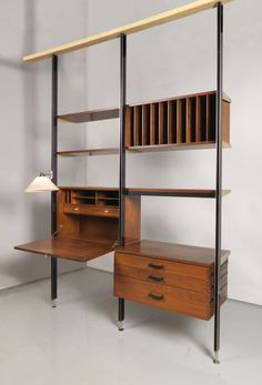 """Wall Unit, """"Comprehensive Storage System (CSS)"""", ca. 1960 -- manufactured by Herman Miller Furniture Company, designed by George Nelson"""