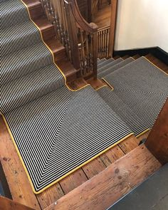 Take a look at this superb installation of our Deco Stripe Collection which has been made into a Carpet Runner with custom bright yellow edging. This design really pops against the backdrop of the natural wood staircase Striped Carpet Stairs, Striped Carpets, Carpet Staircase, Staircase Runner, Wood Staircase, Staircase Design, Stair Runners, Painted Staircases, Painted Stairs