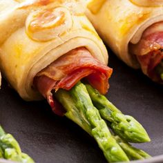 A simple recipe for pastry wrapped asparagus and prosciutto appetizers.. Pastry Wrapped Asparagus and Prosciutto Appetizers Recipe from Grandmothers Kitchen.