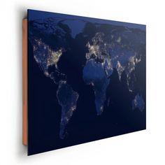 REINDERS Wereldkaart nacht - Schilderij - 90x60cm