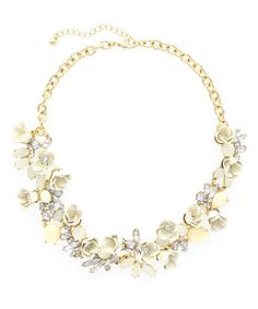 Another great find on #zulily! Gold & Ivory Crystal Floral Treasure Statement Necklace #zulilyfinds