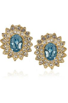 Kenneth Jay Lane 22-karat gold-plated Swarovski crystal earrings