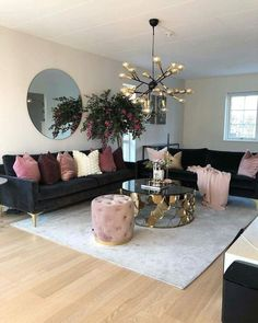 Put some blush on your home Living Room Decoration black and gold living room decor Cozy Living Rooms, Home Living Room, Apartment Living, Living Room Designs, Cozy Apartment, Rustic Apartment, Apartment Ideas, Apartment Styles, Small Living Room Design