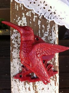 red hummingbird door knocker