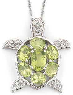 JCPenney FINE JEWELRY Genuine Peridot & White Topaz Turtle Pendant Necklace