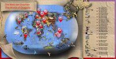map; dragon map; dragons; illustration; fantasy; vintage