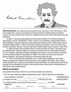 Introduce your child to fascinating scientist Albert Einstein with this history sheet, where he'll even get to learn a bit of basics on theoretical physics.