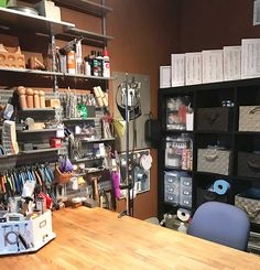 Getting the studio workspace cleaned up.  - reorganize my office and studio space. We can't make the room bigger but he figured out how I can see more of what I own, be inspired by things I love to work with (my tools), and in general find it easier to put things away when I do clean up