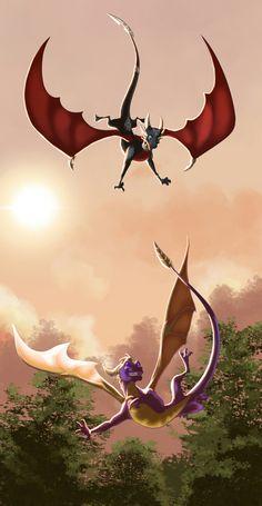 Spyro And Cynder, Dragon Artwork, Spyro The Dragon, Cool Dragons, Kid Icarus, Dragon Claw, Skylanders, Cool Cartoons, Crash Bandicoot