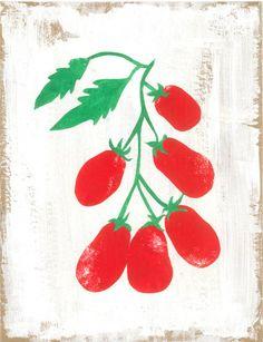 GOOD FOOD tomatoes poster van MirtheBlusse op Etsy