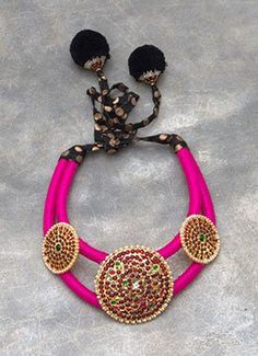 Magenta N Black Polki N Pearls Studded Necklace